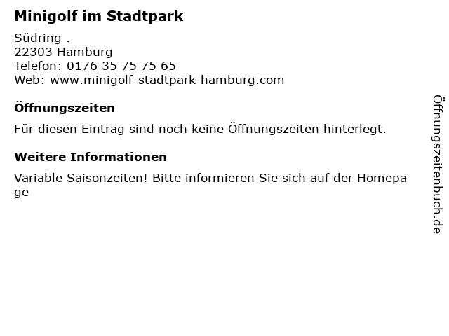 Minigolf im Stadtpark in Hamburg: Adresse und Öffnungszeiten