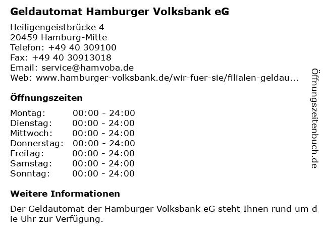 Geldautomat Hamburger Volksbank eG in Hamburg-Mitte: Adresse und Öffnungszeiten