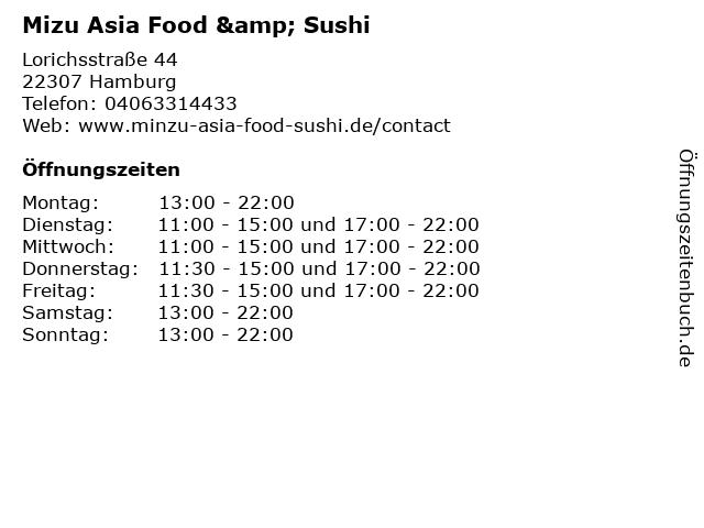 Mizu Asia Food & Sushi in Hamburg: Adresse und Öffnungszeiten