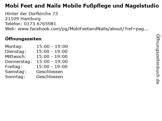 Mobi Feet and Nails Mobile Fußpflege und Nagelstudio in Hamburg: Adresse und Öffnungszeiten