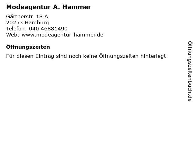 Modeagentur A. Hammer in Hamburg: Adresse und Öffnungszeiten