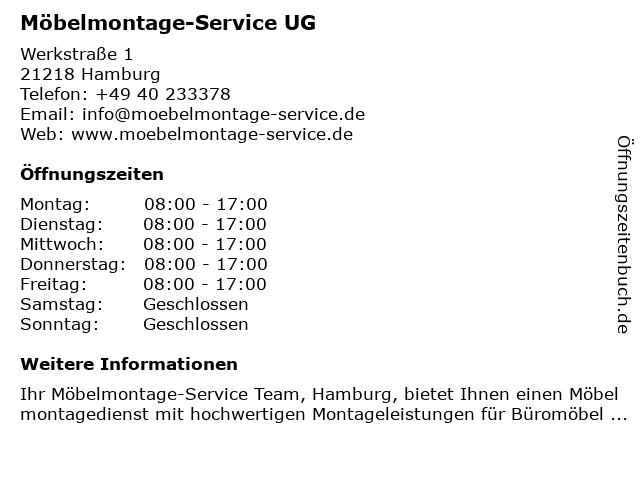 Möbelmontage-Service UG in Hamburg: Adresse und Öffnungszeiten