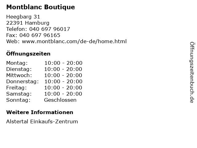 Montblanc Boutique in Hamburg: Adresse und Öffnungszeiten