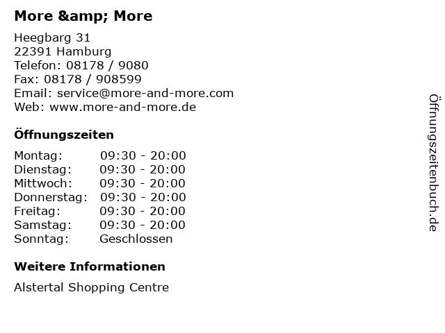 More & More in Hamburg: Adresse und Öffnungszeiten