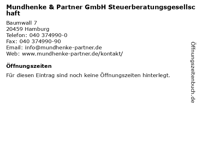 Mundhenke & Partner GmbH Steuerberatungsgesellschaft in Hamburg: Adresse und Öffnungszeiten