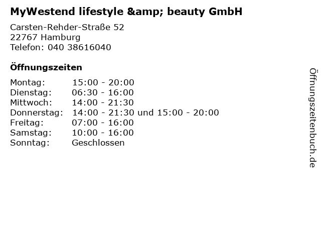 MyWestend lifestyle & beauty GmbH in Hamburg: Adresse und Öffnungszeiten