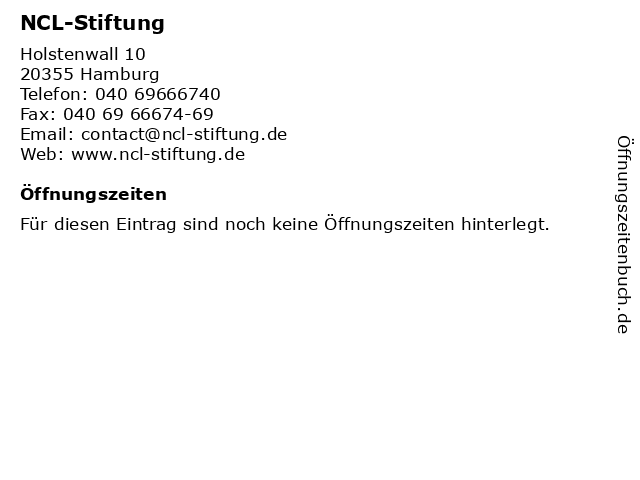 NCL-Stiftung National Contest for Life in Hamburg: Adresse und Öffnungszeiten
