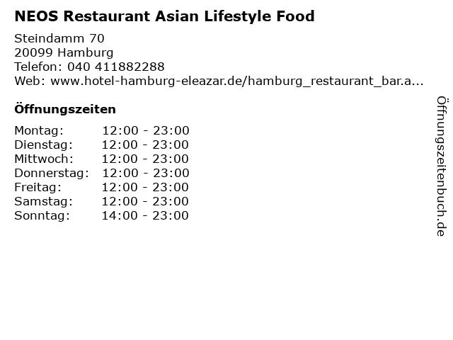 NEOS Restaurant Asian Lifestyle Food in Hamburg: Adresse und Öffnungszeiten
