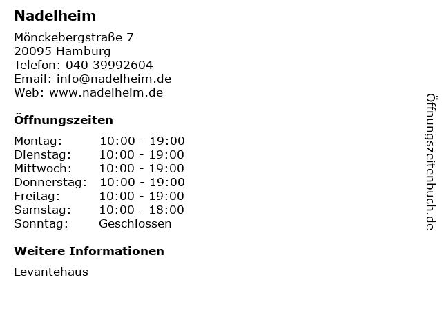 Nadelheim in Hamburg: Adresse und Öffnungszeiten