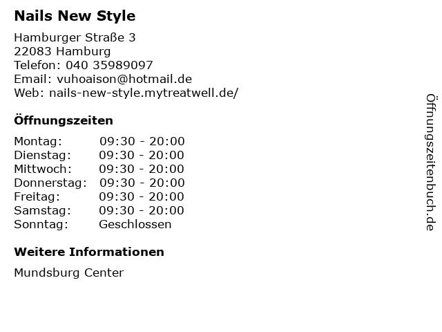 Nail New Style in Hamburg: Adresse und Öffnungszeiten
