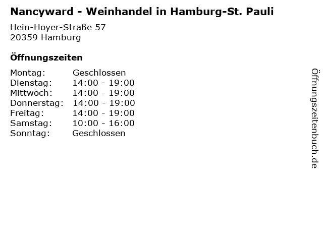 Nancyward - Weinhandel in Hamburg-St. Pauli in Hamburg: Adresse und Öffnungszeiten