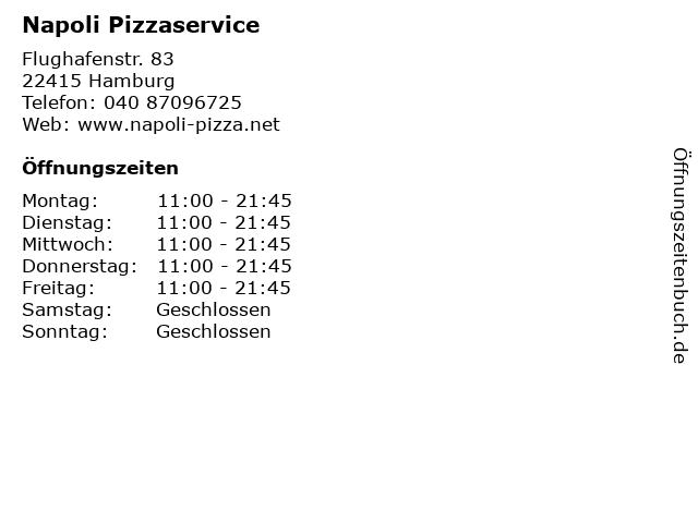 Napoli Pizzaservice in Hamburg: Adresse und Öffnungszeiten