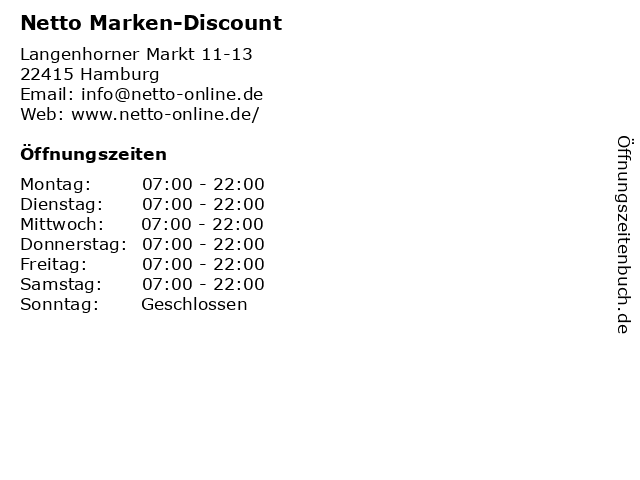 Netto Filiale in Hamburg: Adresse und Öffnungszeiten