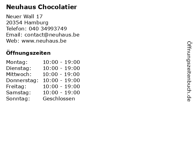 Neuhaus Chocolatier in Hamburg: Adresse und Öffnungszeiten