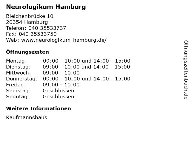 Neurologikum Hamburg in Hamburg: Adresse und Öffnungszeiten