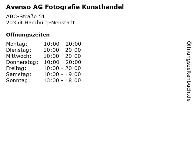 Avenso AG Fotografie Kunsthandel in Hamburg-Neustadt: Adresse und Öffnungszeiten