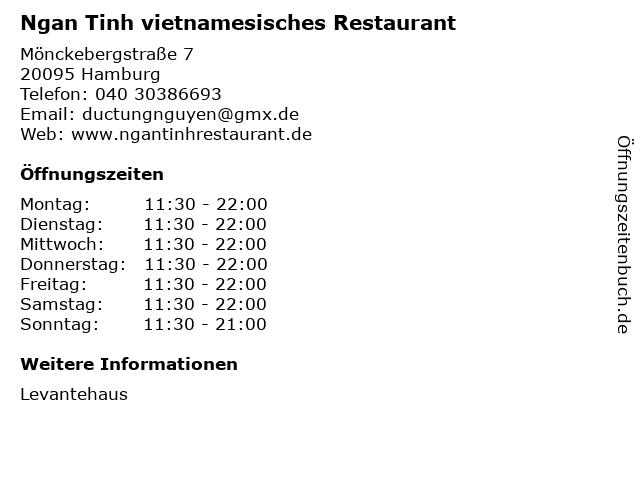 Ngan Tinh vietnamesisches Restaurant in Hamburg: Adresse und Öffnungszeiten