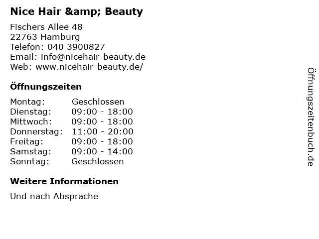 Nice Hair & Beauty in Hamburg: Adresse und Öffnungszeiten