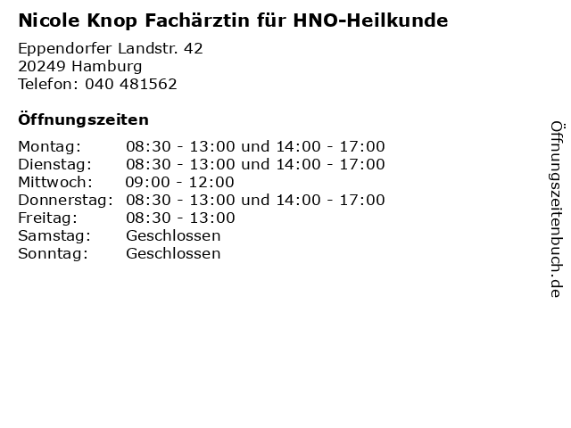 Nicole Knop Fachärztin für HNO-Heilkunde in Hamburg: Adresse und Öffnungszeiten