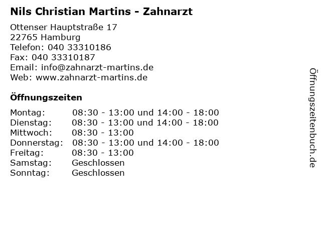 Nils Christian Martins - Zahnarzt in Hamburg: Adresse und Öffnungszeiten