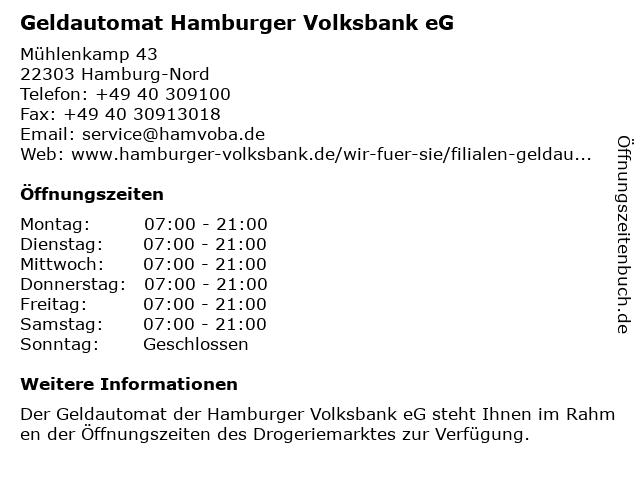 Geldautomat Hamburger Volksbank eG in Hamburg-Nord: Adresse und Öffnungszeiten