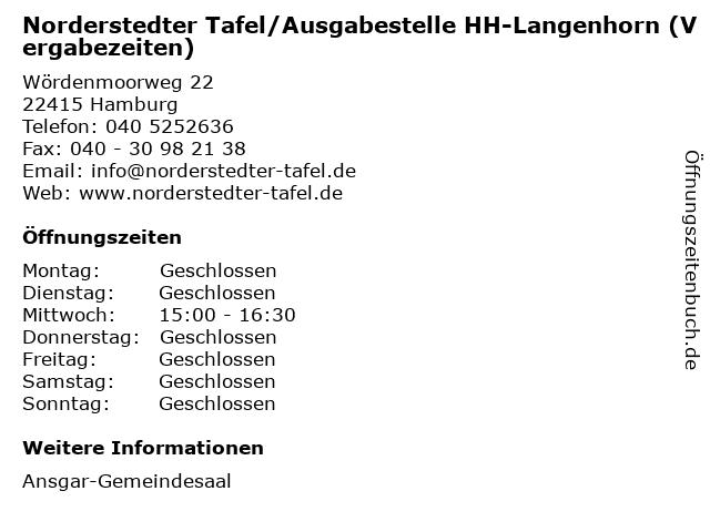 Norderstedter Tafel/Ausgabestelle HH-Langenhorn (Vergabezeiten) in Hamburg: Adresse und Öffnungszeiten