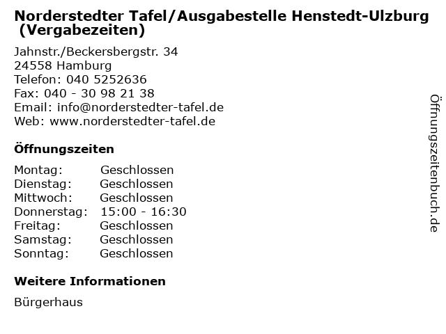 Norderstedter Tafel/Ausgabestelle Henstedt-Ulzburg (Vergabezeiten) in Hamburg: Adresse und Öffnungszeiten