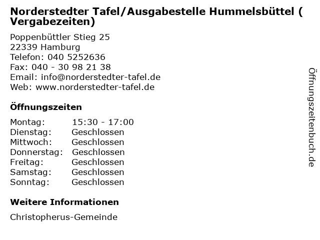 Norderstedter Tafel/Ausgabestelle Hummelsbüttel (Vergabezeiten) in Hamburg: Adresse und Öffnungszeiten