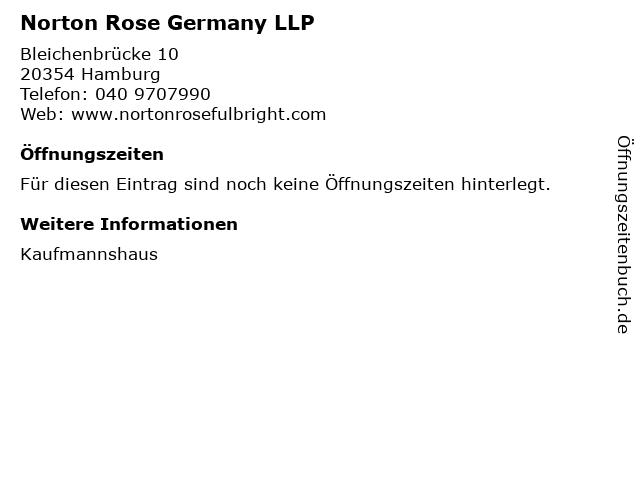 Norton Rose Germany LLP in Hamburg: Adresse und Öffnungszeiten