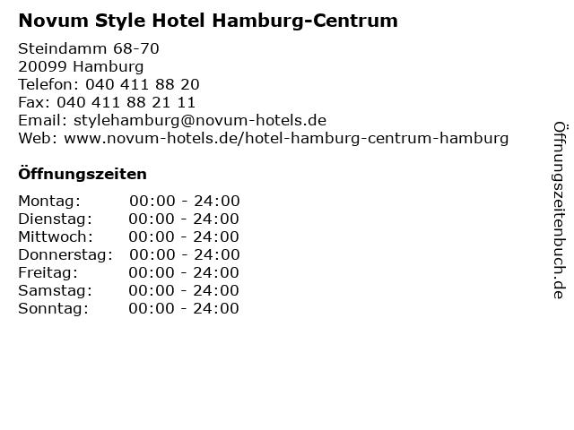 ᐅ öffnungszeiten Novum Style Hotel Hamburg Centrum Steindamm 68