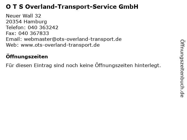 O T S Overland-Transport-Service GmbH in Hamburg: Adresse und Öffnungszeiten