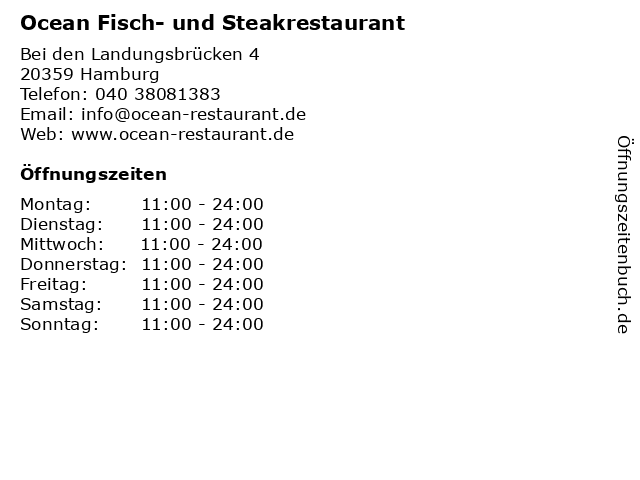 Ocean Fisch- und Steakrestaurant in Hamburg: Adresse und Öffnungszeiten
