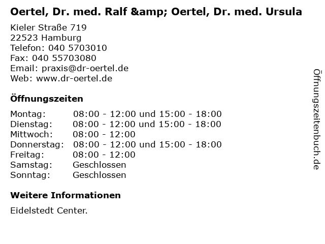 Oertel, Dr. med. Ralf & Oertel, Dr. med. Ursula in Hamburg: Adresse und Öffnungszeiten