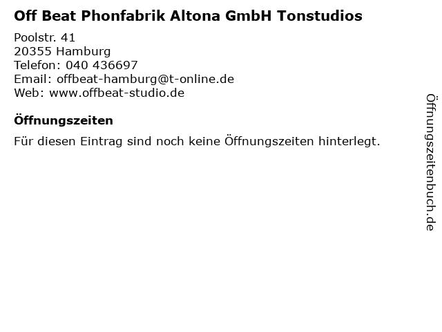 Off Beat Phonfabrik Altona GmbH Tonstudios in Hamburg: Adresse und Öffnungszeiten