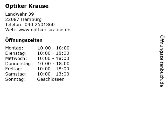 Optiker Krause in Hamburg: Adresse und Öffnungszeiten