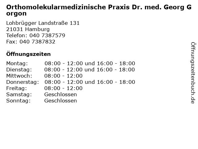 Orthomolekularmedizinische Praxis Dr. med. Georg Gorgon in Hamburg: Adresse und Öffnungszeiten
