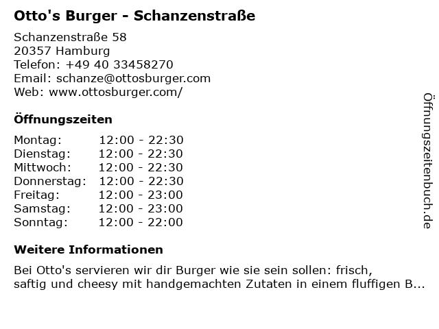 Otto's Burger - Schanzenstraße in Hamburg: Adresse und Öffnungszeiten