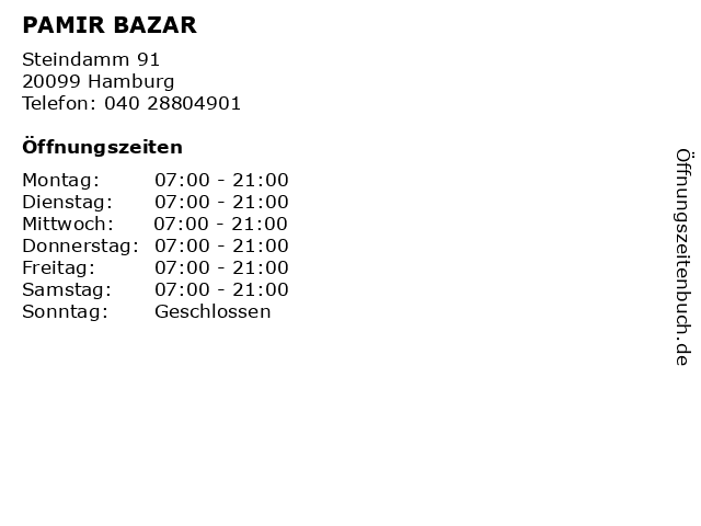 PAMIR BAZAR in Hamburg: Adresse und Öffnungszeiten
