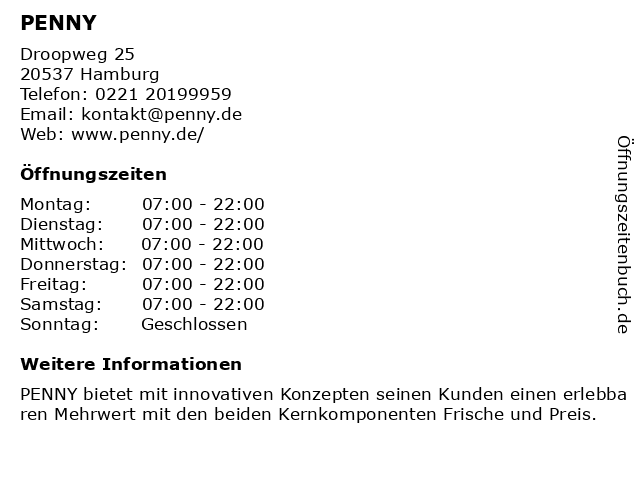 PENNY Markt GmbH in Hamburg: Adresse und Öffnungszeiten