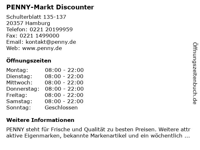 PENNY-Markt Discounter in Hamburg: Adresse und Öffnungszeiten