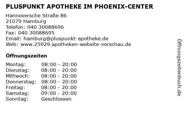 PLUSPUNKT APOTHEKE IM PHOENIX-CENTER in Hamburg: Adresse und Öffnungszeiten