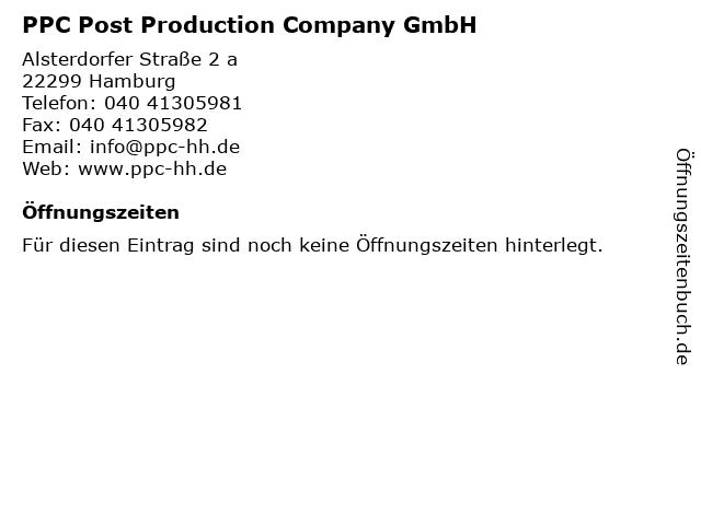 PPC Post Production Company GmbH in Hamburg: Adresse und Öffnungszeiten