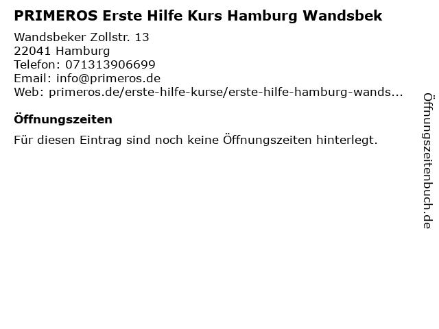 PRIMEROS Erste Hilfe Kurs Hamburg Wandsbek in Hamburg: Adresse und Öffnungszeiten