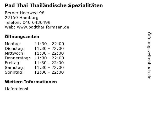 Pad Thai Thailändische Spezialitäten in Hamburg: Adresse und Öffnungszeiten