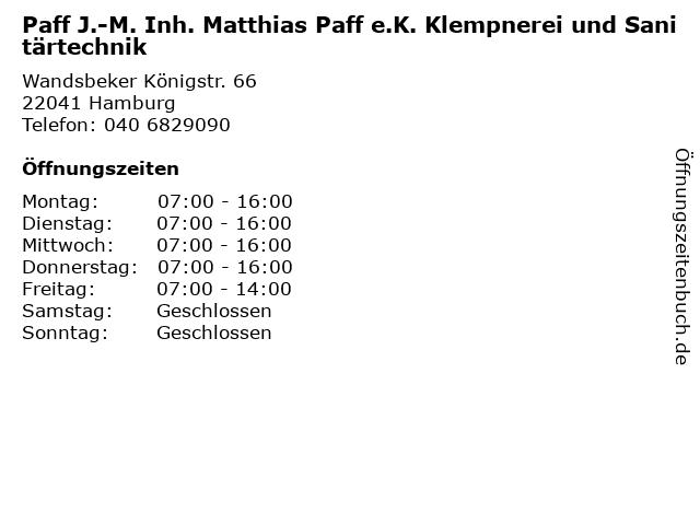Paff J.-M. Inh. Matthias Paff e.K. Klempnerei und Sanitärtechnik in Hamburg: Adresse und Öffnungszeiten