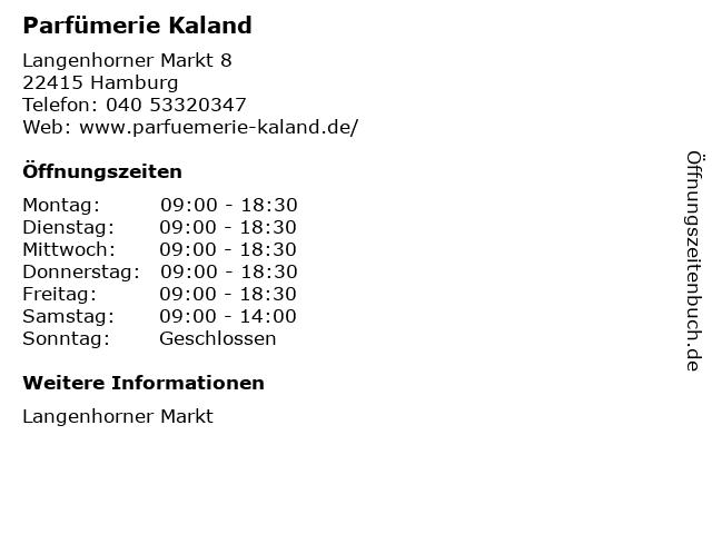Parfümerie Kaland in Hamburg: Adresse und Öffnungszeiten