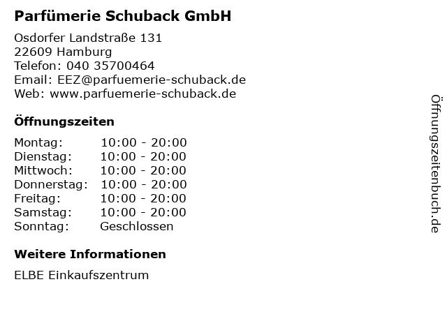 Parfümerie Schuback GmbH in Hamburg: Adresse und Öffnungszeiten