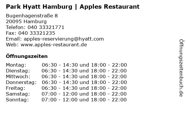 Park Hyatt Hamburg | Apples Restaurant in Hamburg: Adresse und Öffnungszeiten