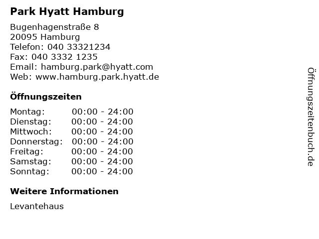 Park Hyatt Hamburg in Hamburg: Adresse und Öffnungszeiten
