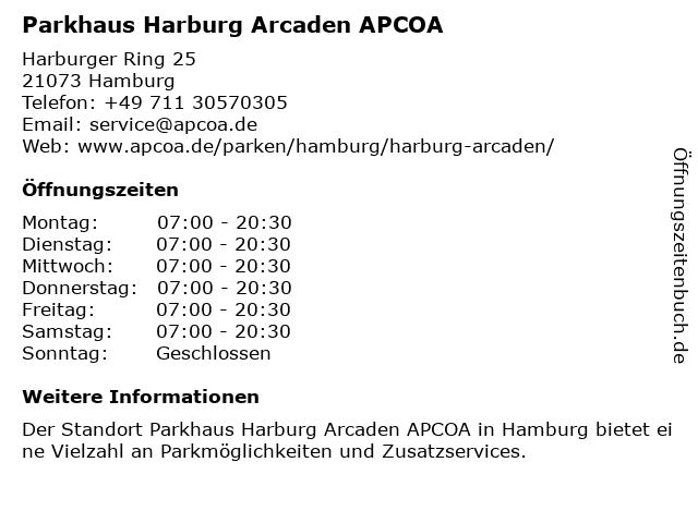 Parkhaus Harburg Arcaden in Hamburg: Adresse und Öffnungszeiten
